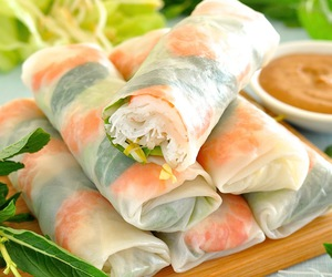peanut butter, spring roll, and vietnamese image