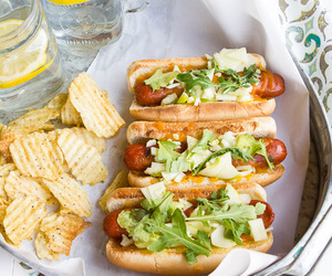 chips, food, and hot dogs image