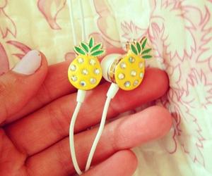 headphones, pineapple, and yellow image