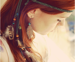 girl, feather, and red hair image
