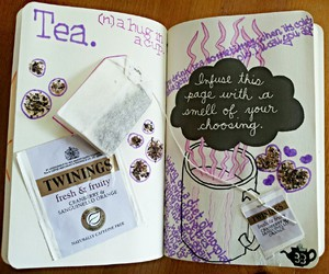 cup of tea, wreck this journal, and english image