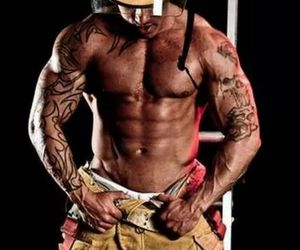beautiful, firefighter, and Hot image