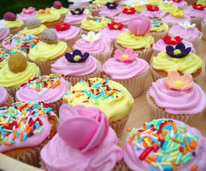 colourful, icing, and cupcakes image