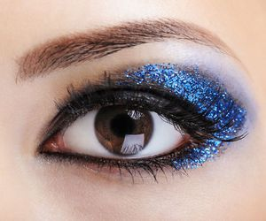 blue, brown eyes, and makeup image