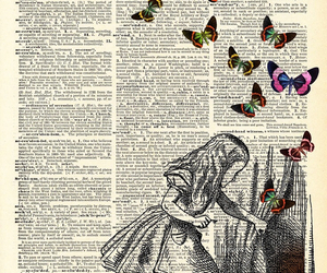 book, alice, and butterfly image