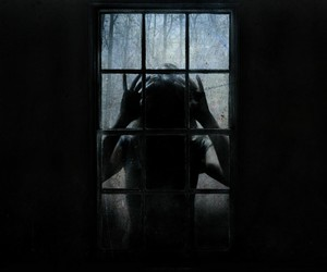 dark, scary, and window image
