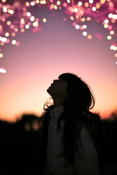 girl, light, and sky image