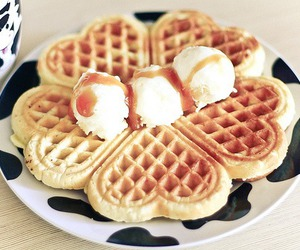 waffles, food, and ice cream image