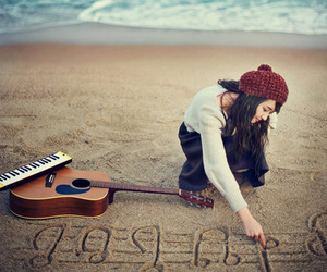 music, girl, and guitar image