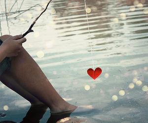 boy, fishing, and heart image