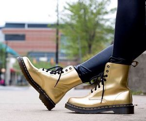 boots, girl, and gold image