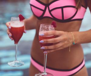 pink, summer, and bikini image