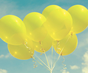 balloons, yellow, and sunshine image