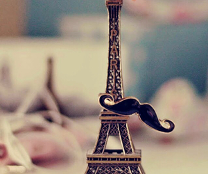 paris, mustache, and eiffel tower image