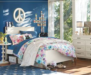bedroom, blue, and bright image