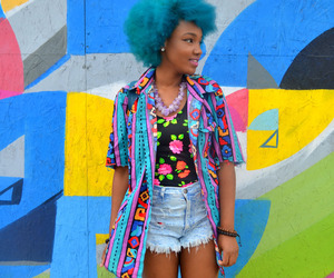 Afro, blue hair, and love image