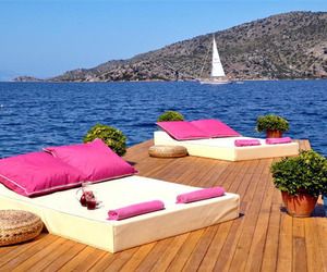 summer, pink, and sea image