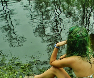 girl, green, and outside image