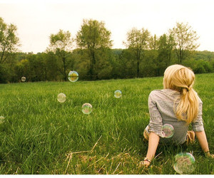 girl, bubbles, and field image