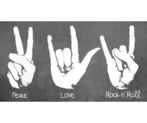 love, peace, and rock image