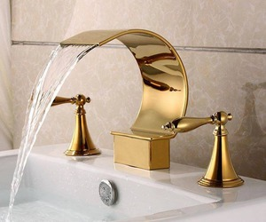 gold, bathroom, and water image