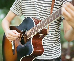 acoustic, boy, and guitar image