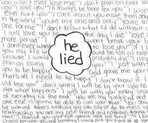 lies, sad, and love image