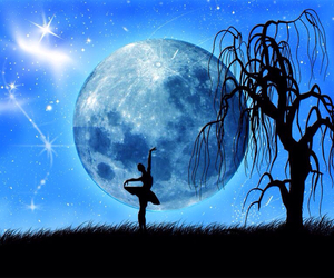 dance, moon, and blue image