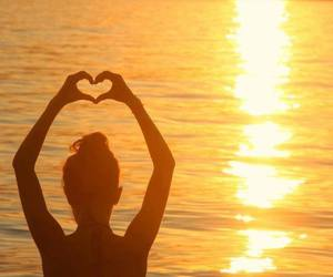 girl, beach, and heart image