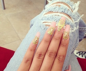 nails, gold, and jeans image