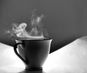 black and white, coffee, and cup image