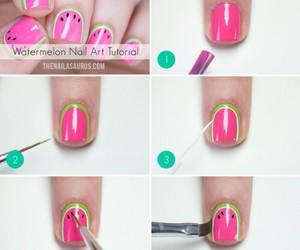 nails, watermelon, and nail art image