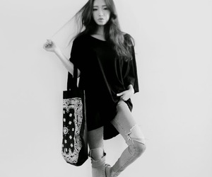 asian, black and white, and kfashion image