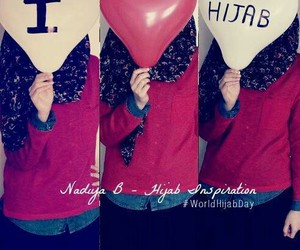 hijab, red, and love image