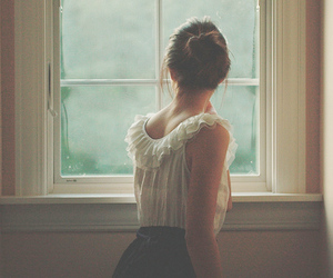 girl, hair, and window image