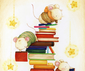 books, mice, and cute image