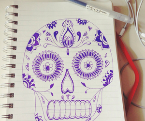 drawing, music, and skull image
