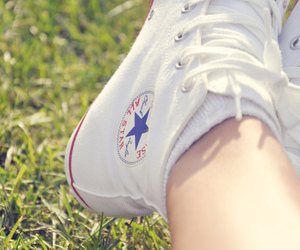 converse, grass, and summer image