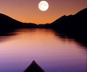 boat, full moon, and river image