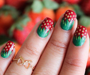 nails and strawberry image