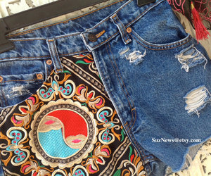 bohemian, high waisted shorts, and ying yang image