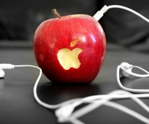apple, music, and red image