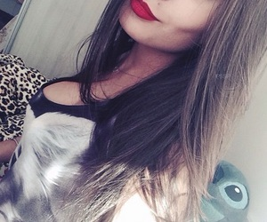 girl and red lips image
