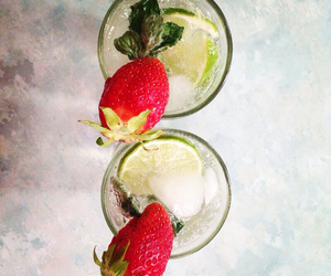 cocktail, strawberry, and summer image