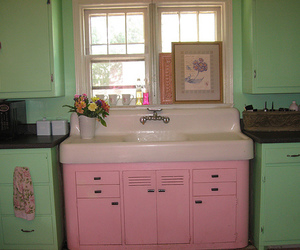 kitchen, pink, and vintage image