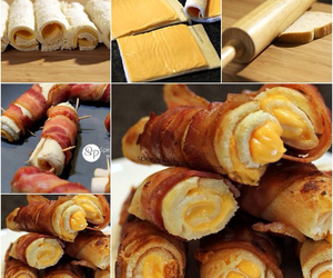 bacon, bread, and food image