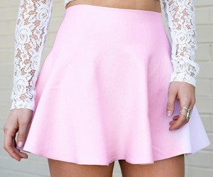 lace tops, pink circle skirt, and white lace tops image