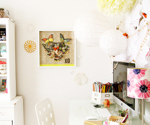 computer, desk, and decor image