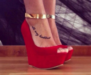 shoes, red, and tattoo image