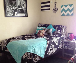 bedroom, blue, and dorm room image